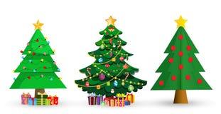 Set of cute cartoon Christmas fir trees on white background vector illustration