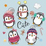 Set of cute cartoon Christmas Penguins royalty free illustration