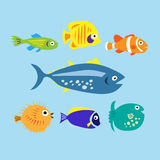 Set of cute cartoon colored marine fishes Stock Image