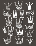 Set of cute cartoon crowns. Hand drawing vector Royalty Free Stock Image