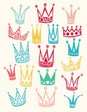 Set of cute cartoon crowns. Hand drawing vector Stock Photos