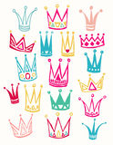 Set of cute cartoon crowns. Hand drawing vector Royalty Free Stock Images