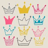 Set of cute cartoon crowns. Royalty Free Stock Photos