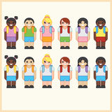 Set of cute cartoon diverse children wearing school uniform with backpacks. Royalty Free Stock Image
