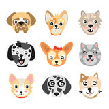 Set of cute cartoon dogs heads. Colorful character vector Illustrations Stock Photography