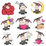 Set of Cute Cartoon Donkey Royalty Free Stock Photos