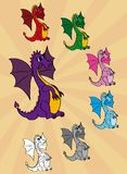 Set of cute cartoon dragons Stock Photos