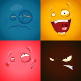 Set with cute cartoon emotions Stock Photos
