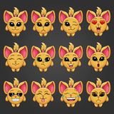 Set cute cartoon fantastic animal like a cat with different emot Stock Images