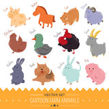 Set of cute cartoon farm animal icon Stock Photos