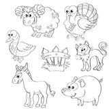 Set of cute cartoon farm animals. Sheep, turkey, duck, cat, donkey, pig and fence. Set of cute cartoon farm animals. Black and white vector illustration for stock illustration