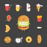 Set of cute cartoon fast food characters . French fries , pizza , donut , hot dog , popcorn , hamburger , cola. Croissant and coffee mug . Template for menu royalty free illustration