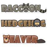 Set cute cartoon forest wild animals. Cute cartoon forest wild animals, funny text name raccoon, hedgehog and beaver Stock Photos