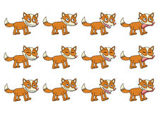 Set of 12 cute cartoon foxes Royalty Free Stock Photo