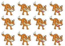 Set of 12 cute cartoon foxes Royalty Free Stock Images