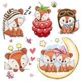 Set of Cartoon Foxes on a white background Stock Photo