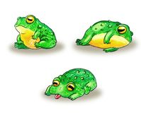 Set of cute cartoon frogs. Handdrawn with pencil Stock Illustration
