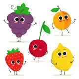 Set of 5 cute cartoon fruit characters isolated on white Stock Photography
