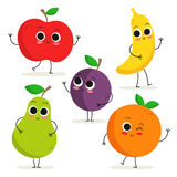Set of 5 cute cartoon fruit characters  on white Royalty Free Stock Images
