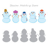 Set of cute cartoon funny snowman. Isolated on white background, Shadow Matching Game for Preschool Children. Find the correct shadow. Vector illustration Stock Image