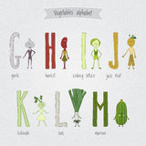 Set with cute cartoon funny vegetables alphabet Stock Image