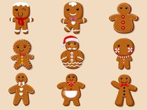 Set cute cartoon Gingerbread man cookies. Collection of merry Ch. Ristmas and New Year. vector illustration Royalty Free Stock Photo