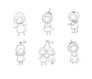 Set of cute cartoon girl berries. Stock Image