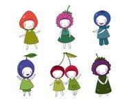 Set of cute cartoon girl berries. Stock Photos