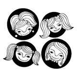 Set of cute cartoon girl's faces. Monochrome vector illustration. Royalty Free Stock Images