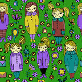 Set of cute cartoon girls. Colorful vector seamless pattern. Stock Images