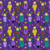 Set of cute cartoon girls. Colorful vector seamless pattern. Stock Photo