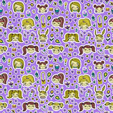 Set of cute cartoon girls. Colorful vector seamless pattern. Royalty Free Stock Photo