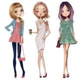 Set with cute cartoon girls. Set with cute summer cartoon girl stock illustration