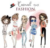 Set with cute cartoon girls vector illustration