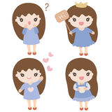 Set of cute cartoon girls in various poses Stock Photo