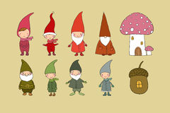 Set of cute cartoon gnomes. Funny elves. Hand drawing isolated objects on white background. Vector illustration. Royalty Free Stock Photos