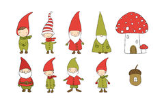 Set of cute cartoon gnomes. Funny elves. Hand drawing isolated objects on white background. Vector illustration. Royalty Free Stock Photography