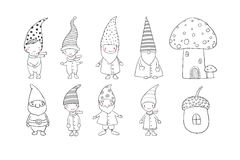 Set of cute cartoon gnomes. Funny elves. Hand drawing  objects on white background. Vector illustration. Stock Photo