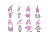 Set of cute cartoon gnomes. Funny elves. Hand drawing  objects on white background. Vector illustration. Stock Image