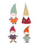 Set of cute cartoon gnomes. Funny elves. isolated objects on white background. Stock Photo