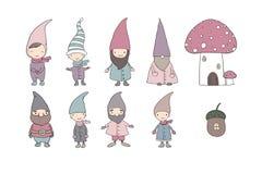 Set of cute cartoon gnomes. Royalty Free Stock Photos