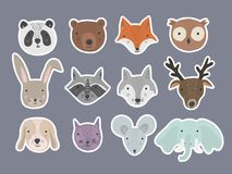 Set of cute cartoon hand drawn animals stickers vector illustration