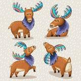 Set of cute cartoon hand drawn elks Stock Photography