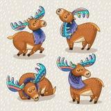 Set of cute cartoon hand drawn elks Royalty Free Stock Photography