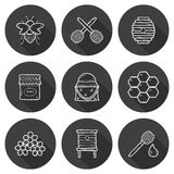 Set of cute cartoon hand drawn icons on beekeeping Stock Photos