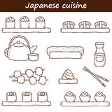Set of cute cartoon hand drawn icons on japanese Stock Images