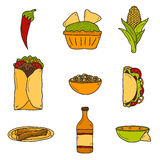 Set of cute cartoon hand drawn icons on mexican Royalty Free Stock Images