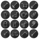 Set of cute cartoon hand drawn icons with shadow Stock Image