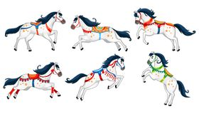 Set of cute cartoon horses isolated on white background. Running white vector horses for carousel, invitations, cards, posters etc vector illustration