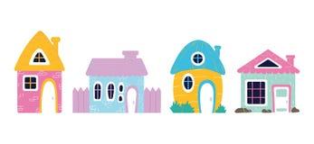 Cute cartoon houses vector illustration